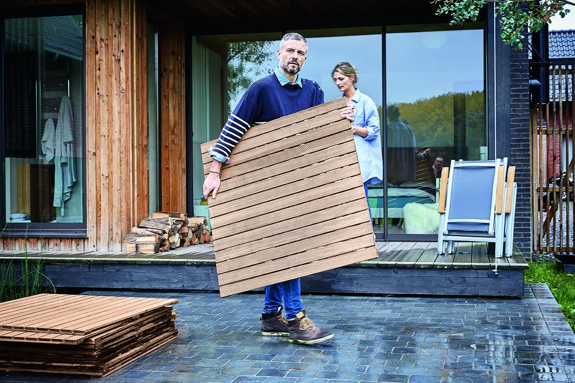 Houten terrastegels   voor de makers