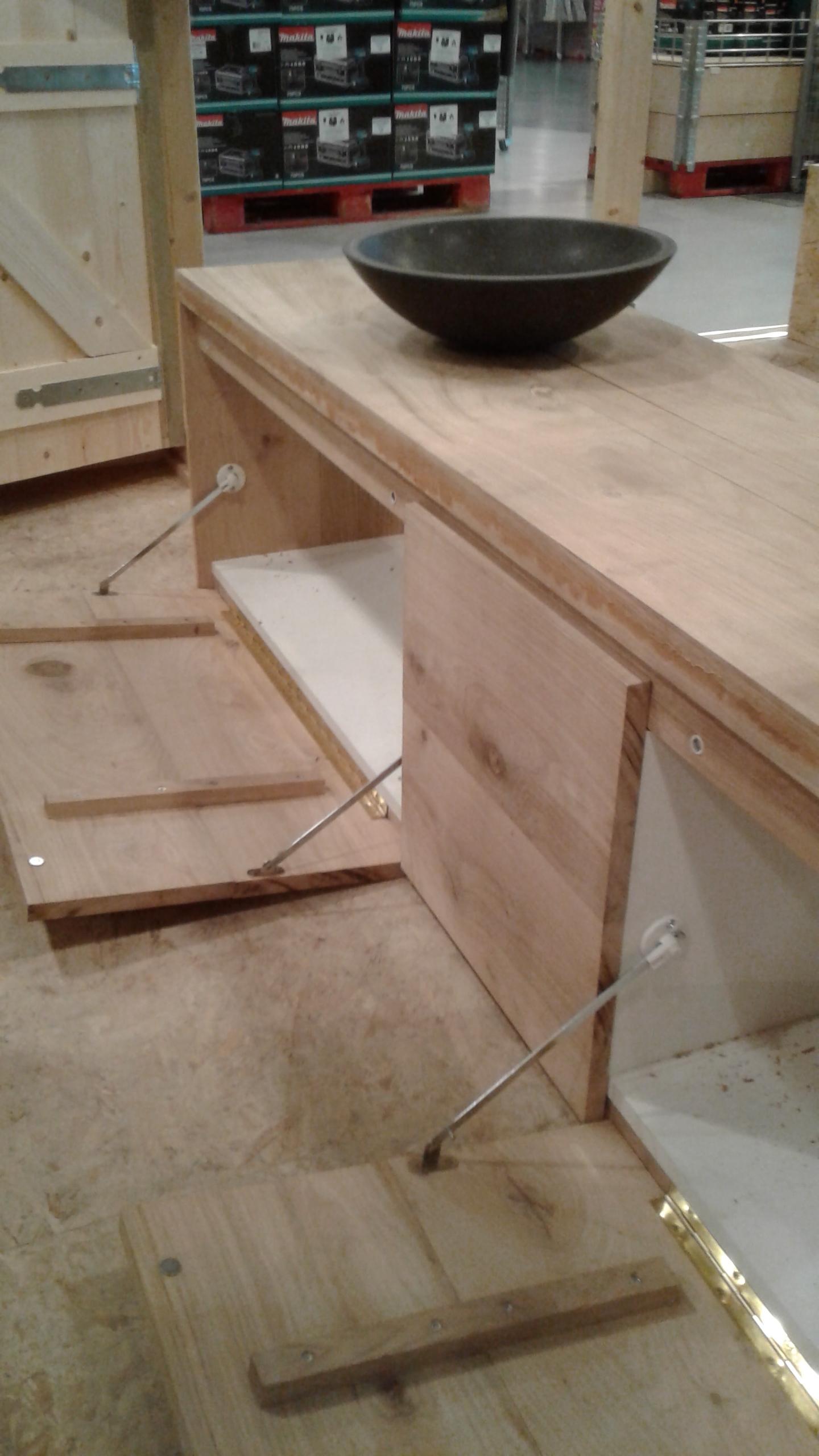 Eiken badkamermeubel maken  Voor de makers # Wasbak Schroef_105513
